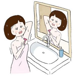 洗面所で脇毛を剃ろうとしているコマチ